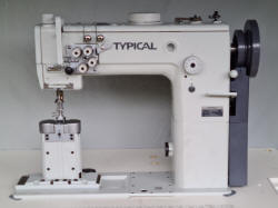 Typical industrial sewing machine post bed